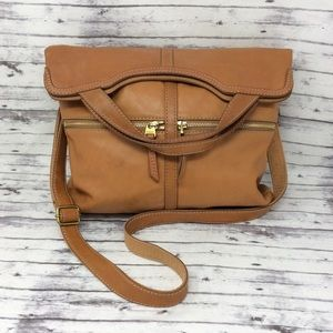 FOSSIL-Fold Over Cognac Leather Messenger Bag